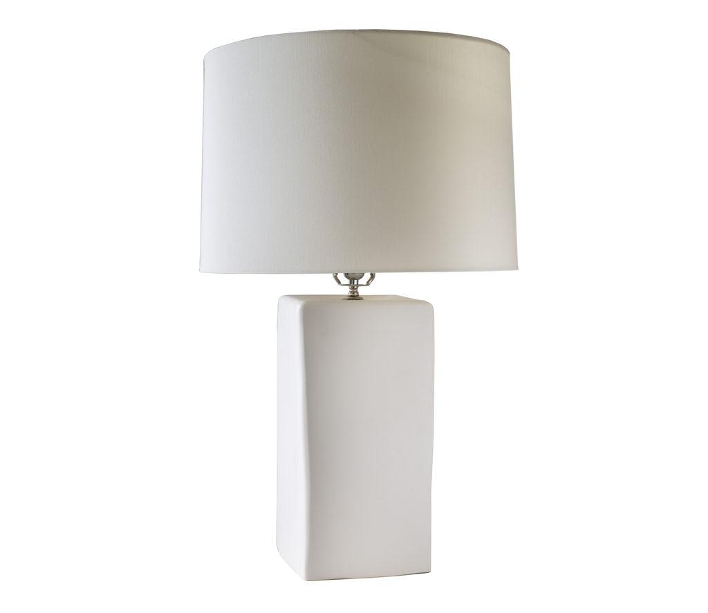 Large Square Ceramic Lamp in Matte White