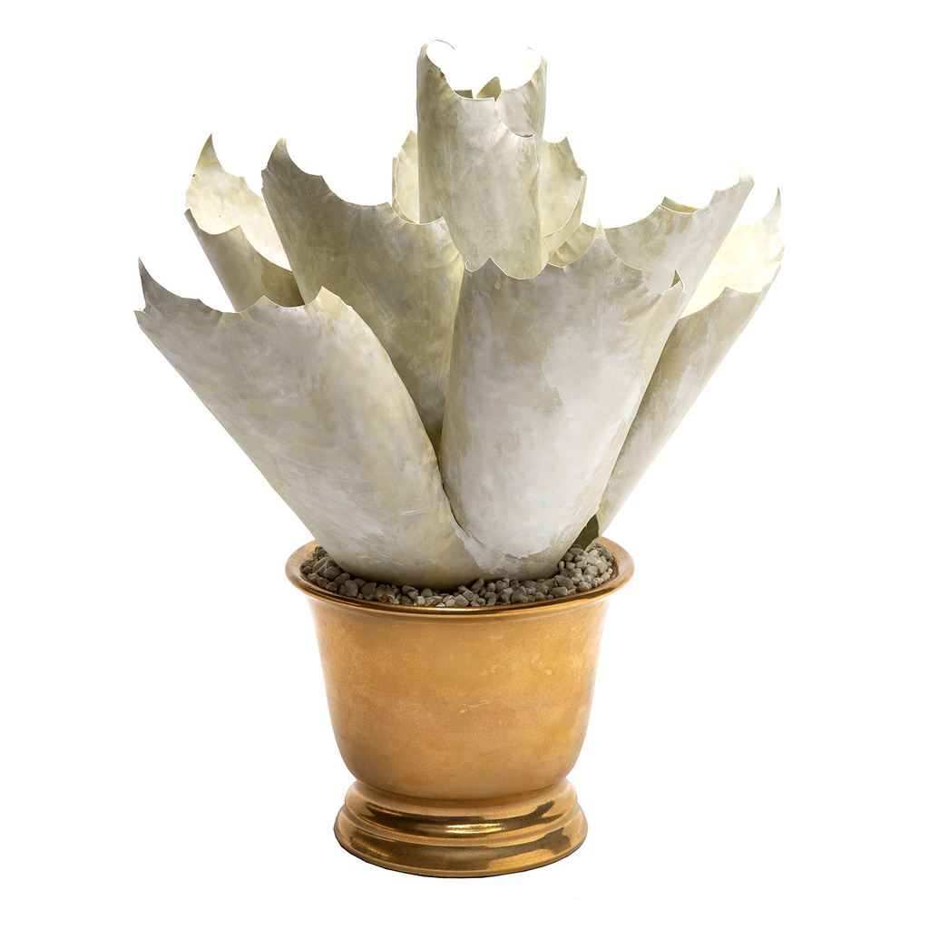 Handcrafted Tole Spikey Agave Antique White