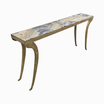 "Found Collection Iron Console Table with Downswept Legs and Custom Reverse Painted Glass Top. Dim: 66""W x 12""D x 31""H"