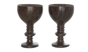 Pair of Napoleon Tigre Marble Goblet Form Footed Urns