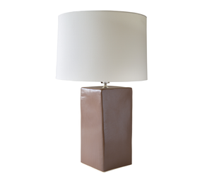 Large Square Ceramic Lamp in Coffee