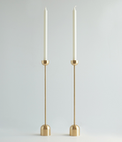 "12.5"" Tall Spindle Candle Holder, Machined from Brass, Dome Shaped Top and Base."