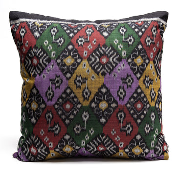 Batik Pillow with Purple Striped Burlap Back