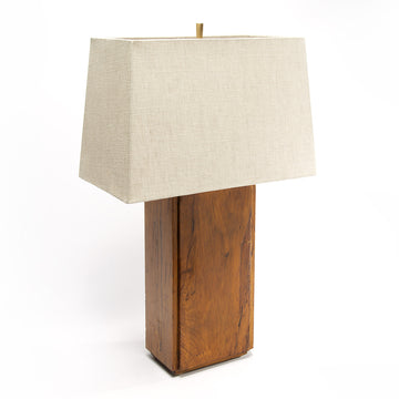 Pair of Rectangular Walnut Lamps