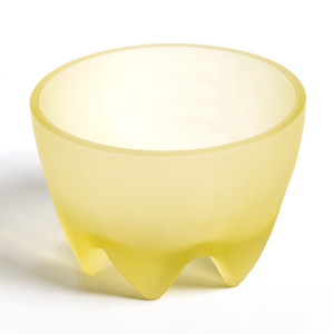 Frosted Amber Glass Footed Bowl.