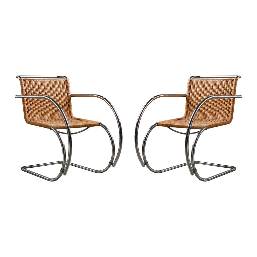Pair of Vintage Rattan Ludwig Mies van Der Rohe Lounge Chairs