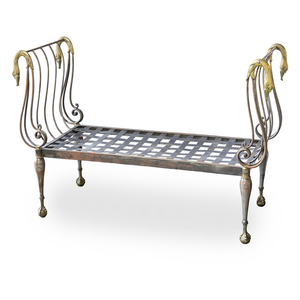 Neoclassical Style Iron and Brass Bench with Swan Detail