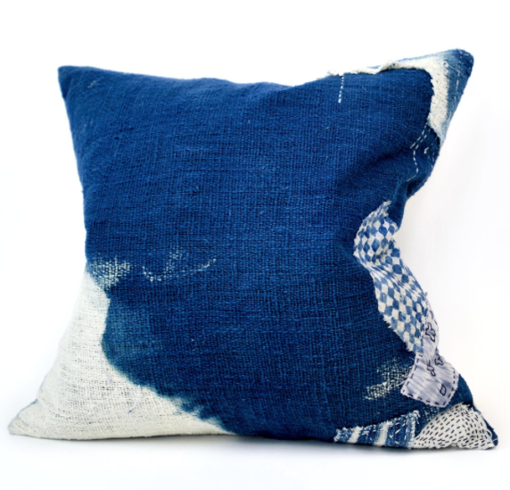 Indigo Boro Pillow-Khadi Cottom