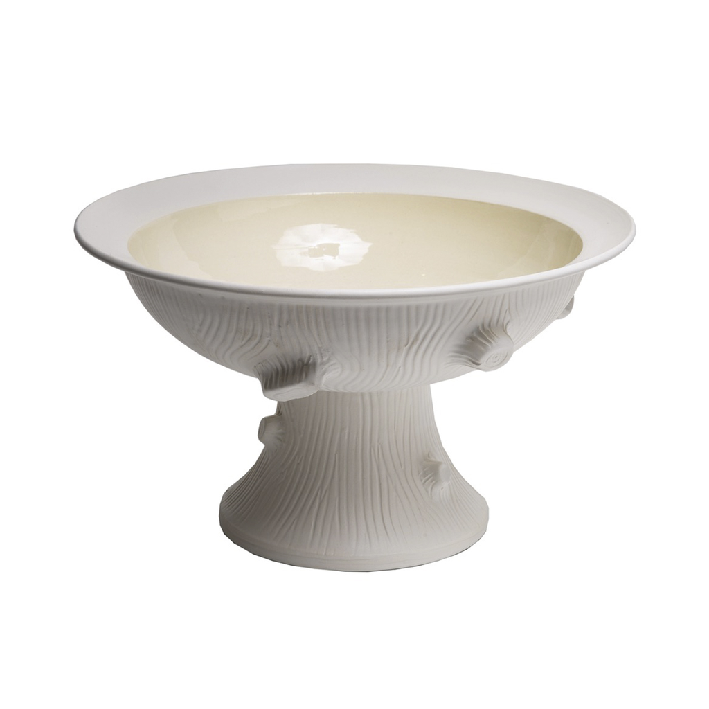 Faux Bois Pedestal Bowl in Matte White