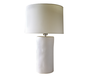 Wide Ceramic Cylinder Lamp in Matte White