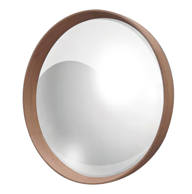 Oak Frame with Round Convex Mirror