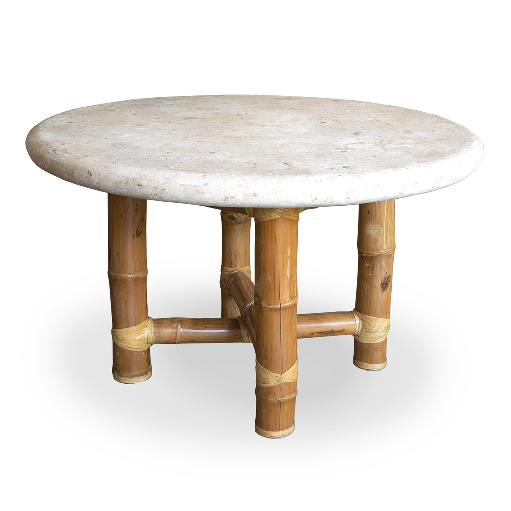 Rounded Stone and Bamboo Table