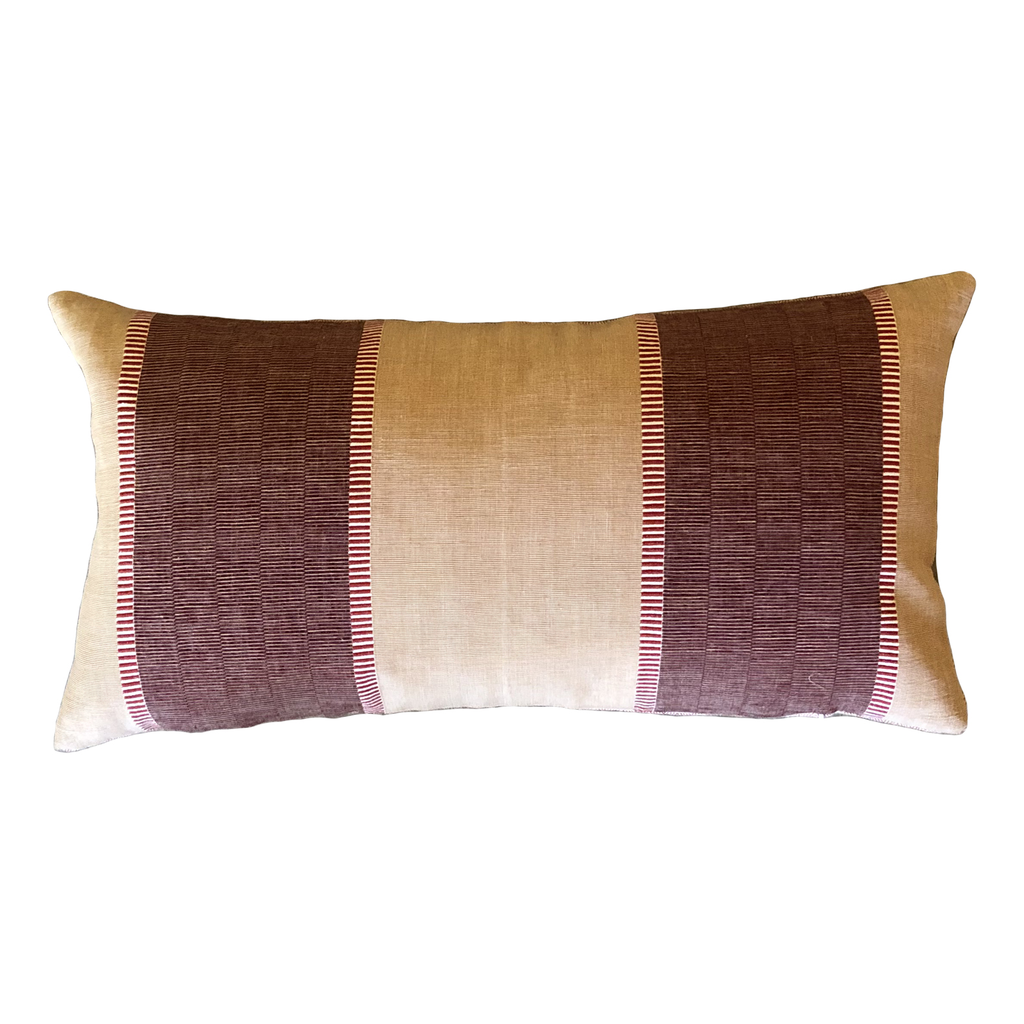 Malabar Cranberry and Peach Stripe Lumbar Pillow