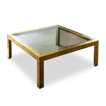 "Vintage Brass Coffee Table with New Glass Top. Dim: 33.5""W x 33.5""D x 13""H"