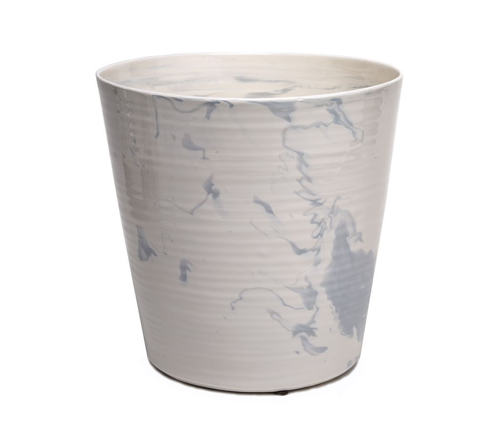 Ceramic Ice Bucket in Heather Gray Marble