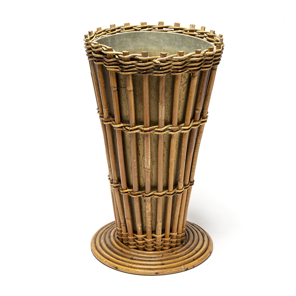 Vintage Rattan Planter with Metal Liner