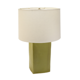 Square Matte Green Ceramic Lamp