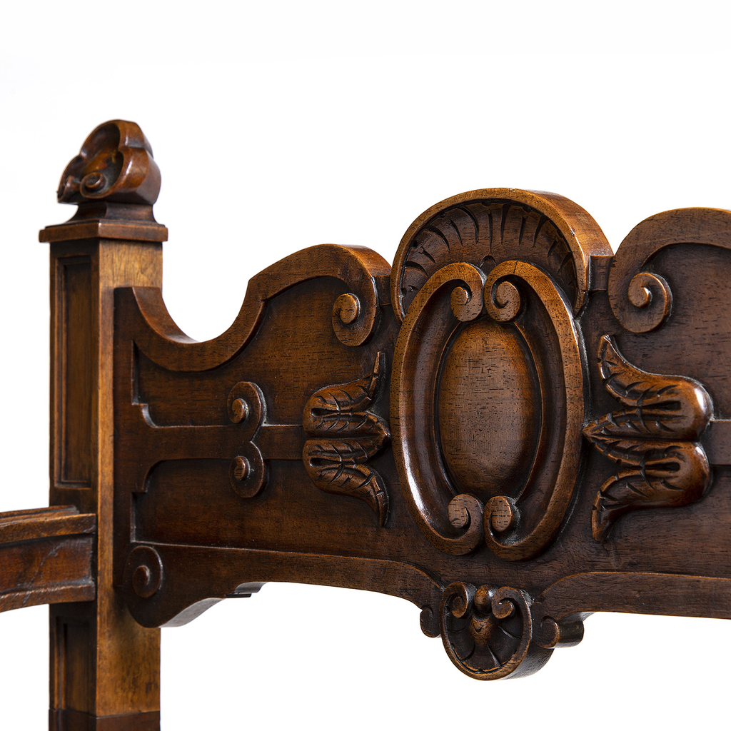 French Carved Walnut Savanarola Arm Chair