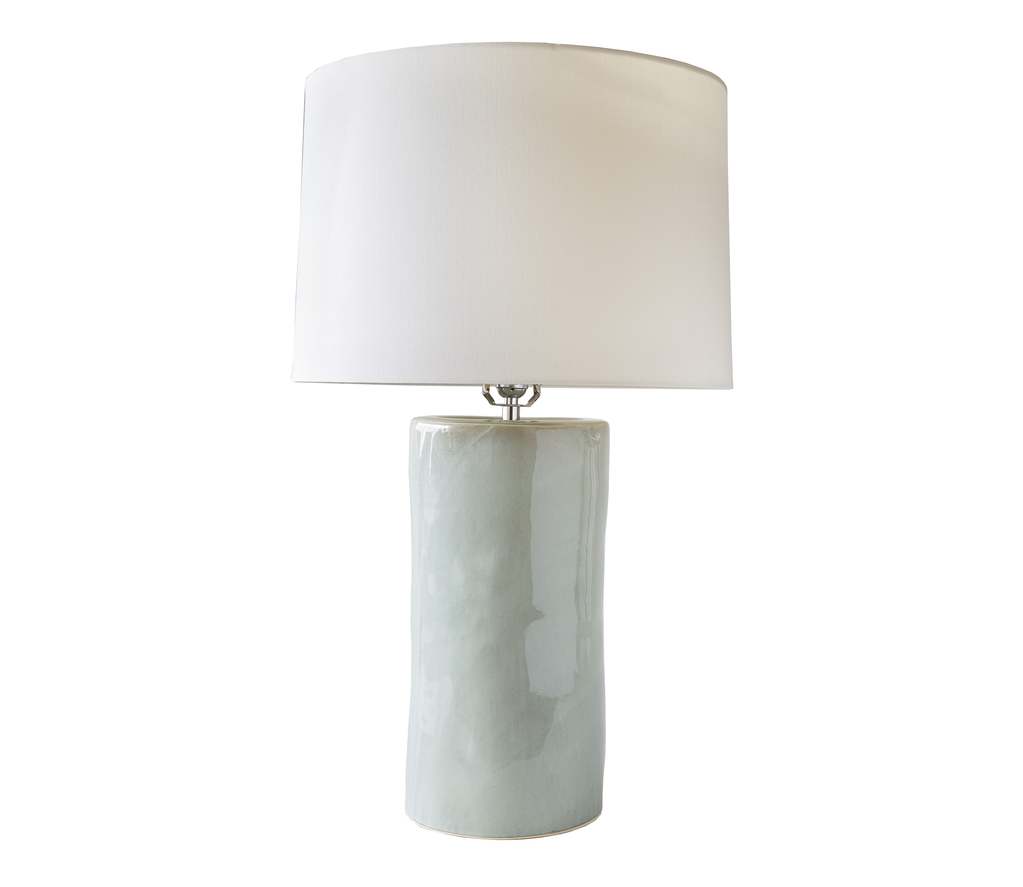 Wide Cylinder Lamp in Seafoam