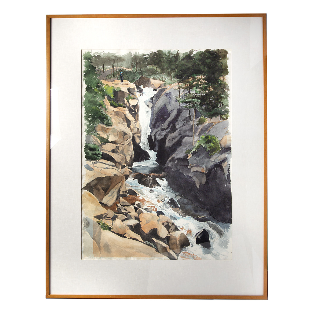 "Watercolor on Paper by Artist Herb Rather. Titled: Waterfall. Dim: 31""W x 1.5""D x 40""H"