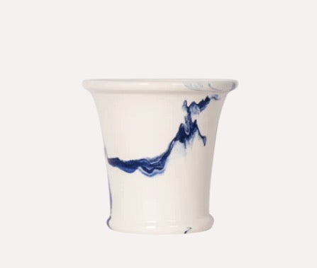 Medium Cache Pot in Delft Blue Marble