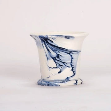 Small Cache Pot in Delft Blue Marble