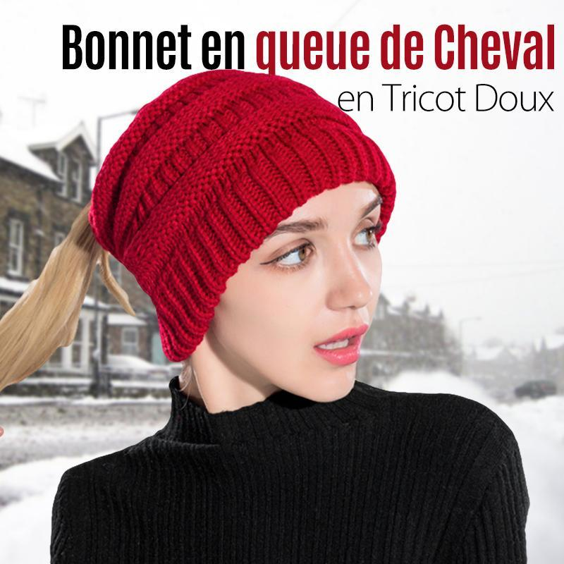 Bonnet en queue de Cheval en Tricot Doux - ciaovie