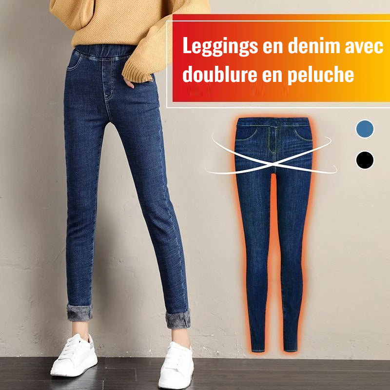 Leggings en Denim Doublé de Peluche