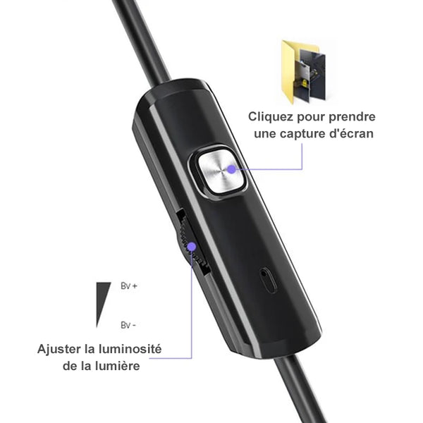 Caméra d'Endoscope WiFi Semi-rigide à Mise au Point Automatique