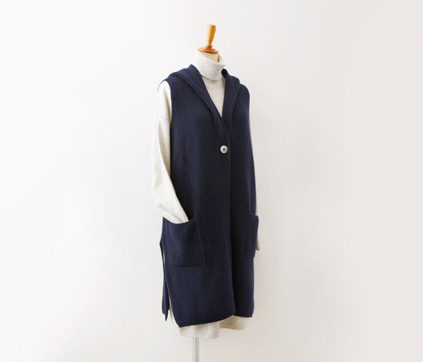 100% cashmere hooded long length vest-UTO