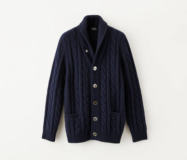 100% of cashmere cable knitting shawl collar cardigans