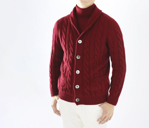 Cashmere 100% Cable Knitting Shawl Color Cardigan - UTO