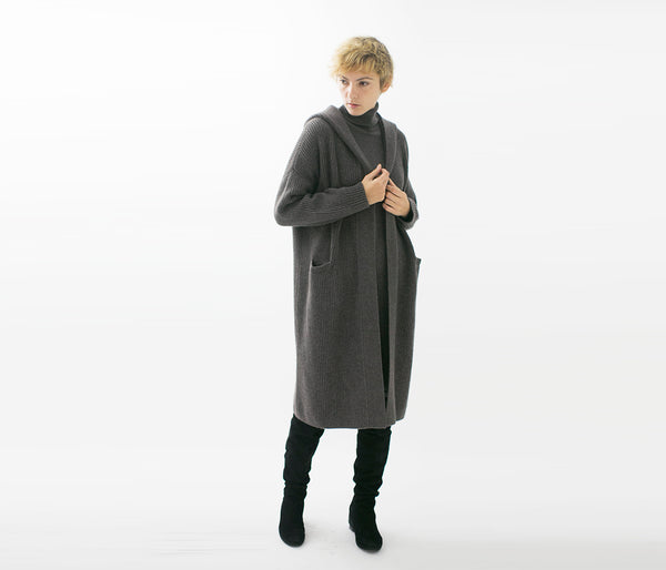 Cashmere 100% Ryoto Hooded Long Cardigan - UTO