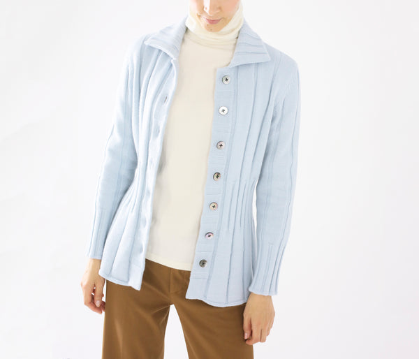 100% cashmere rib-shaped cardigan-UTO