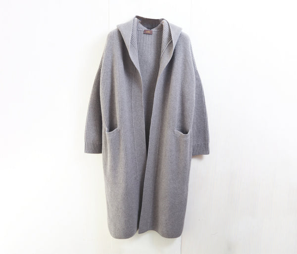 100% cashmere hooded long cardigan --UTO