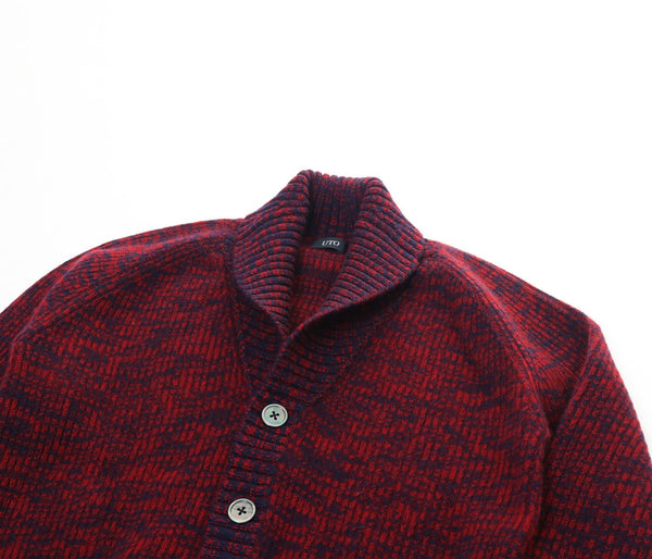 100% cashmere double ridge shawl collar slim cardigan --UTO