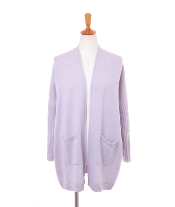 100% cashmere rib sleeve open front cardigan --UTO