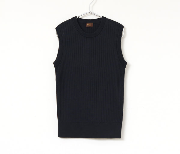 Washable silk 100% wide ribbed sleeveless