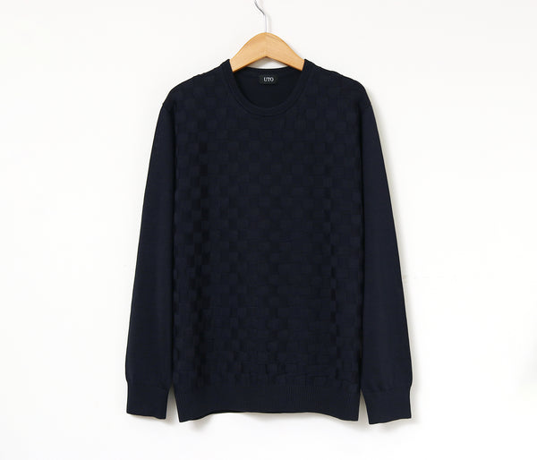 100% of washable silk rib crew neck sweaters