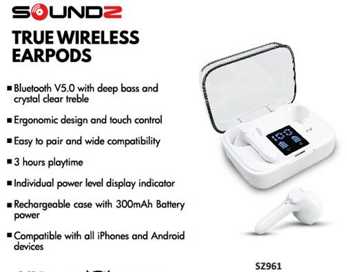 Soundz True Wireless Earpods with Charge status screen