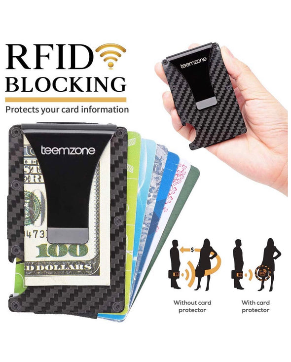 RFID blocking carbon fibre wallet and money clip