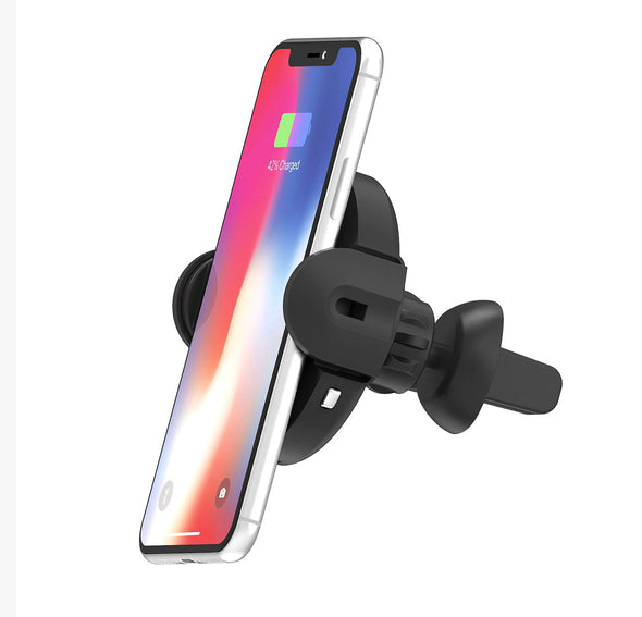 Groove in car fast wireless phone charger and auto grab cradle
