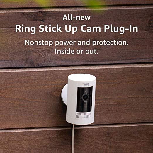 Ring Stick Up Cam Plug-In HD security camera with two-way talk, Works with Alexa
