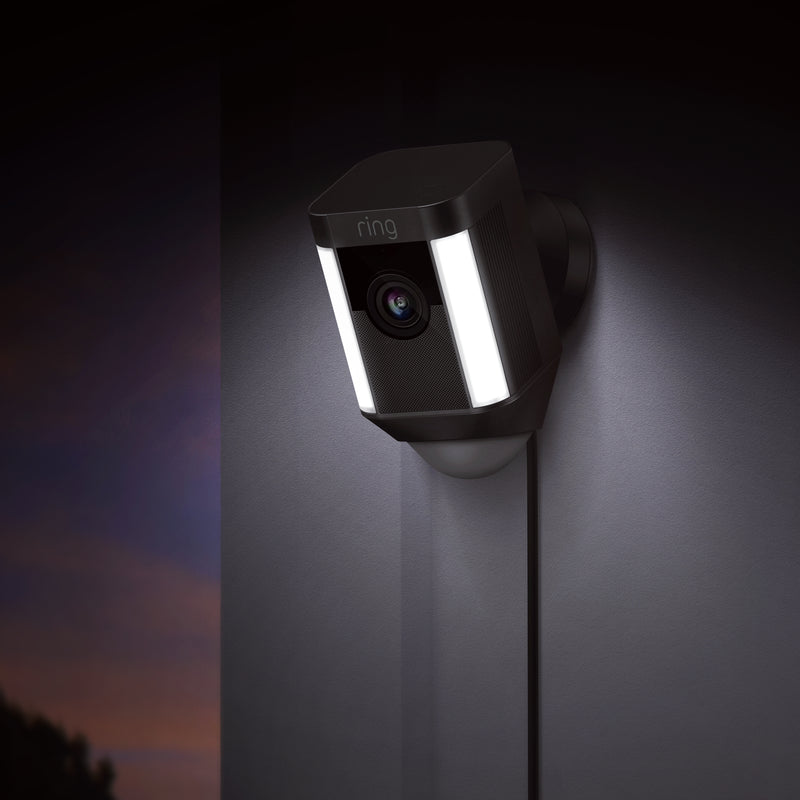 Ring Spotlight Cam Wired: Plugged-in HD security camera with built-in spotlights, two-way talk and a siren alarm, Works with Alexa