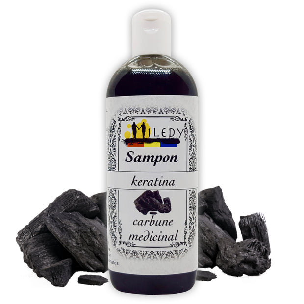 Sampon natural cu carbune medicinal, matreata, par gras, antiseboree, probleme scalp, Miledy Naturals