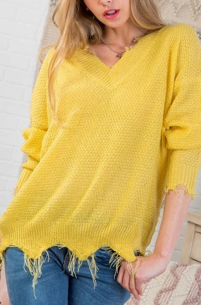 Fall in Love Sweater - Lemon