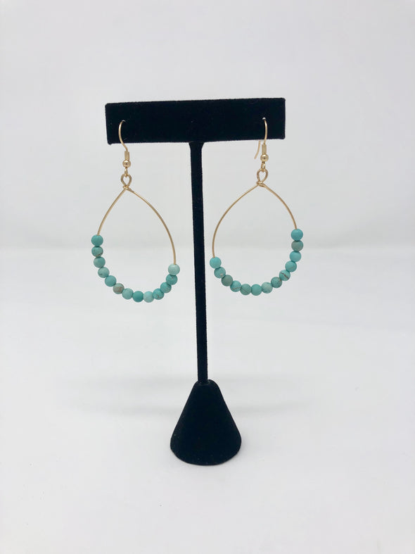 Teardrop Stone Bead Earrings - Turquoise