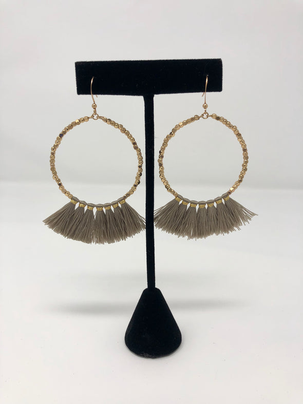 Bead Circle & Tassel Earrings - Taupe