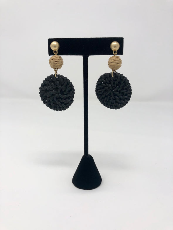 Rattan Disc & Ball Earrings - Black