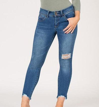 Womens Slim Hi Lo Ankle Jeans